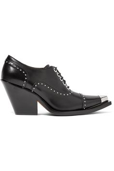 Heel measures approximately 80mm/ 3 inches Black leather Silver stud embellishments, silver-tipped pointed toe Lace-up front  Made in Italy