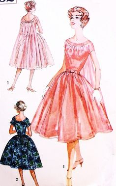 1950s BEAUTIFUL Evening Cocktail Party Dress Pattern SIMPLICITY 2762 Full Skirted Floating Watteau Back Panel Version Bust 34 Vintage Sewing Pattern