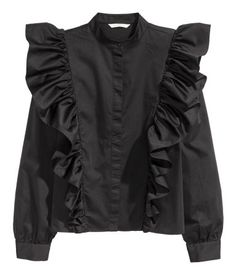 Blouse in a cotton weave with a small stand-up collar, concealed buttons down the front, gently dropped shoulders and slightly wider sleeves with Abaya Fashion, Muslim Fashion, Teen Fashion, Fashion Dresses, Petite Fashion, Curvy Fashion, Urban Fashion, Fall Fashion, Fashion Ideas