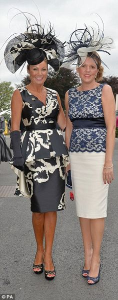 Bold and beautiful: Ensembles ran the gamut of colours from classic black (left) via delic. Beautiful Ladies, Ladies Day, Nice Dresses, Peplum Dress, Battle, Colours, York, Lady, Classic