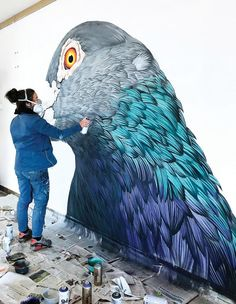 Each Pigeon Painting by Adele Renault Shows the Bird's Overlooked Beauty Pigeon Breeds, Bird Houses Painted, Adele, Art Mural, Wall Murals, Land Art, Street Artists, Cool Art, Graffiti