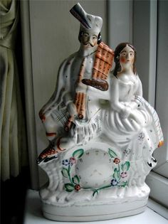 Very Large Staffordshire pottery faux clock figure Highlander & bagpipes C1880