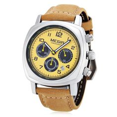 34.35$  Buy here - http://diudk.justgood.pw/go.php?t=141798004 - MEGIR 1056 Water Resistance Working Sub-dials Quartz Watch Date Function Genuine Leather Band for Men 34.35$
