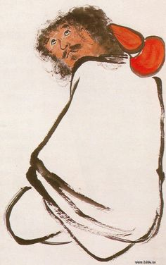 齊白石人物畫《鐵拐李》              Painted by the contemporary artist Qi Baishi 齊白石.