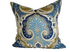 Hey, I found this really awesome Etsy listing at https://www.etsy.com/listing/161566482/pillow-cover-kravet-bright-blue-and-tan - Decorative Throw Pillows Unique Designer Fashion Home Decor Beautiful Covering Patterns Unique Colorful