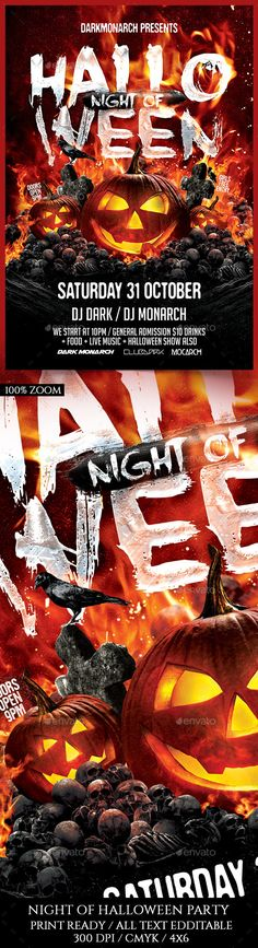 Night Of Halloween Party Flyer Template PSD. Download here: https://graphicriver.net/item/night-of-halloween-party/17620258?ref=ksioks