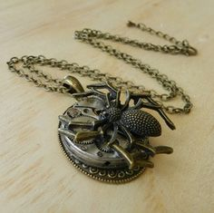 Image of Steampunk Spider Clockwork Pendant Necklace