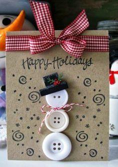 carte de noel a faire soi meme avec de boutons blancs et un ruban, idee DIY carte géniale