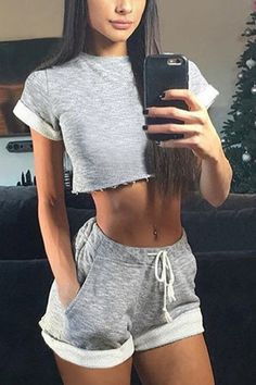 Simple Crew Neck Crop Top & Drawstring Waist Shorts Co-ord