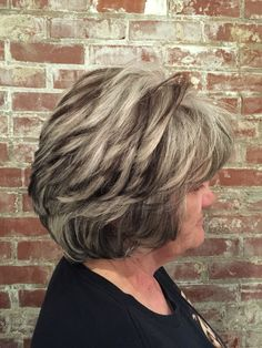 Granite color scheme. Client has Natual white hair and put chocolate chunky highlights throughout. #aloxxi #kreationsbykatie
