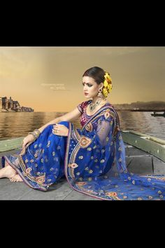 Incredible ink blue saree in net
