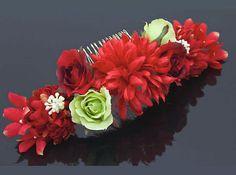 KZ064 Japanese Hair Pin Kanzashi Bouquet Red Kimono Geisha Maiko   eBay