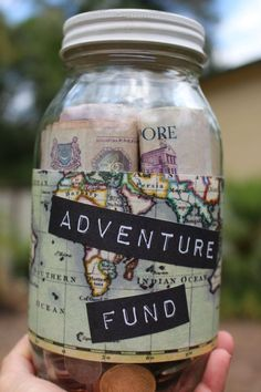 Adventure Fund custom glass money jar by MonikaKVeith on Etsy