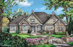 New plan - NOW AVAILABLE! The Charlton - Plan 1322. Special features are there from the beginning with a barrel vaulted ceiling on the front porch! See the floor plan on our website: http://www.dongardner.com/house-plan/1322/the-charlton. #European #HomePlan #OneStory