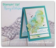 Stampin Up Flurry of Wishes green and blue card by Sandi @ www.stampinwithsandi.com