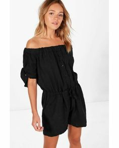 40d1c56995 Boohoo Aria Off Shoulder Tie Sleeve Playsuit Black Size L UK 14-16 DH182 AA