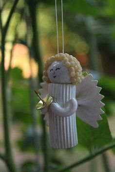 Pasta Noodle Angel ornament handmade Christmas by tonyasepulveda presepe fai da te Your place to buy and sell all things handmade Pre Lit Christmas Tree, Christmas Tree Crafts, Christmas Angels, Handmade Christmas, Christmas Tree Decorations, Christmas Ornaments, Angel Ornaments, Ornament Crafts, Handmade Ornaments