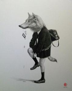 Anthropomorphic Pencil Portraits of Schoolgirl Animals by Takumi Kama