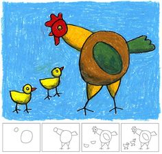 Art Projects for Kids: How to Draw a Hen and Chicks