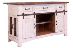 The Greenview Collection features solid wood furniture with rustic and refined industrial details and finishes. Maximize your kitchen storage and counter space - Solid Pine wood with a distressed whit