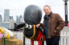 Nick Park was at the launch event of Shaun in the City. Here he is with 'The Guardian' by artist  Vivi Cuevas.