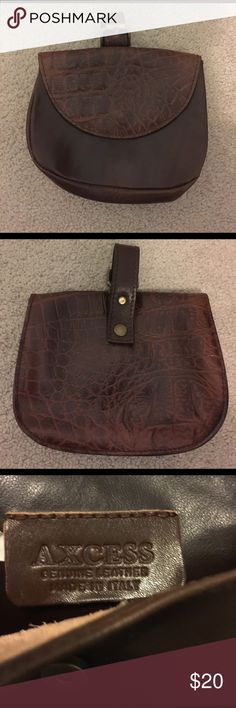 Small Leather Axcess Purse Great condition!!! Small brown leather purse made in Italy that can attach to a belt or a larger bag's strap. So cute and functional! Axcess Bags Mini Bags