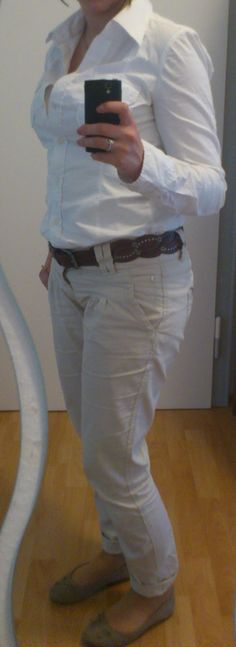 Bürooutfit, go to Office, totally White and Beige  http://lucciola-test.blogspot.de/2013/09/outfit-des-tages-burooutfit.html