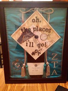 Great way to display your graduation gear for your sorority! Just need a shadow box and small pins to set everything in place!