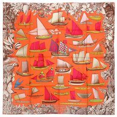 Silk-twill scarf, hand-rolled cm x 90 cm) Turbans, Hermes Orange, Silk Scarves, Hermes Scarves, Silk Art, Designer Scarves, Scarf Design, Vintage Scarf, Silk Painting