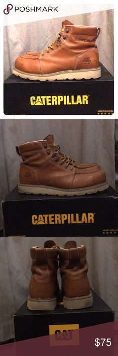 Caterpillar Men's Tradesman Steel toe work boots Caterpillar Men's Tradesman ST/Tan Industrial and Construction Shoe. Size 11.5. Worn two days total. Small scuff on toe of right boot. Hardly noticeable and after they are work boots. But, Too big for me. Paid $130 brand new. Caterpillar Shoes Lace Up Boots