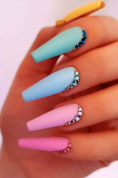 nails nails art nails ideas nails designs # coffin nails are bold and stylish of coffin nails nails show your manicure # best coffin nail idea and magnify your existing nail polish ideas. Bright Summer Acrylic Nails, Matte Acrylic Nails, Multicolored Nails, Acrylic Nails Coffin Short, Simple Acrylic Nails, Coffin Shape Nails, Simple Nails, Cute Acrylic Nail Designs, Nagel Gel