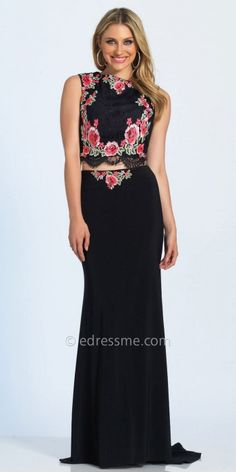 Be the center of attention at your next party in this stunning Floral Embroidered Lace Two Piece Prom Dress by Dave and Johnny. This style features a fitted crop top with a bateau neckline and a sexy keyhole open back. The bodice is embellished with a lace overlay that is embroidered with a gorgeous stand out floral print. The skirt features a jersey column silhouette with stunning sweep train and center back zipper. #edressme