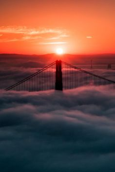 The morning view of the fog rolling on San Francisco from Hawk Hill.