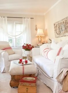 Decorating with Red ~ Add small touches of red with grain sack fabric.