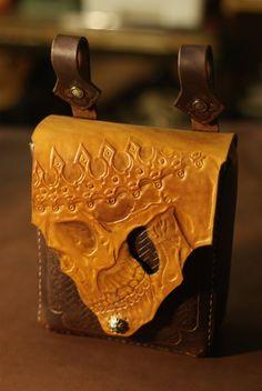 Biker belt leather bag skull by NobrandLeatherworkss on Etsy
