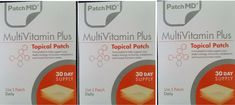 3x PatchMD Multivitamin Plus Topical Vitamin Patch 30 Day (Total = 90) Patch-MD  #PatchMD