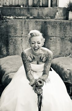 Break old wedding traditions. I will ROCK my wedding dress with my tats showing!!!!
