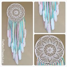 """97 Likes, 7 Comments - Feathers.Dreams.Love ---Kelly (@feathers.dreams.love) on Instagram: """"Pastel Love 25cm dreamcatcher. What an amazing colour combination. Teal, yellow and pink.…"""""""