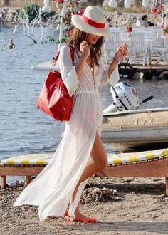 vestido longo com fenda branco para usar como saida de praia