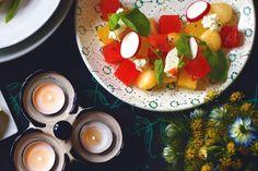 Melon Salad: radish, feta, cayenne vinaigrette, basil crystals, watercress