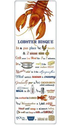 Lobster Bisque Recipe 100% Cotton Flour Sack Dish Towel Dishtowel Tea Towel