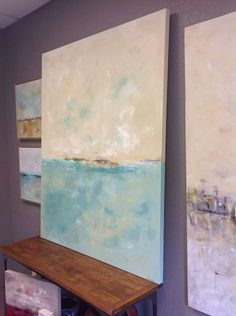 Large Blue Abstract Seascape Original Painting by lindadonohue