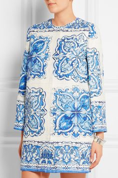 DOLCE & GABBANA Printed cotton and silk-blend brocade coat $3,250.00