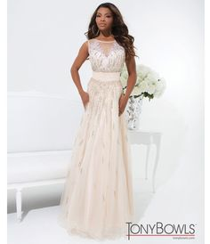 1920s prom dress: Tony Bowls 2014 Prom Dresses - Nude Mesh & Beaded Prom Gown $458.00   #1920sprom #greatgatsby #prom