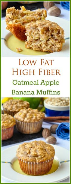 Oatmeal Apple Banana Low Fat Muffins. High in fiber too! A very easy to make recipe for moist, delicious breakfast muffins that uses a minimum of vegetable oil and sugar, although you'll never miss it.