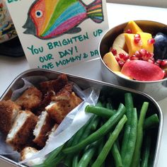 Mommy slept in so daddy made lunch today: whitefish with steamed green beans and a big antioxidant filled fruit salad of mangos, apples, prune plums and pomegranates. Good job daddy!