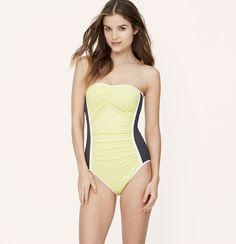 LOFT Beach Colorblock Ruched One Piece Swimsuit | Loft