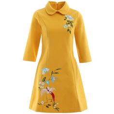 Bowknot Bird Embroidery Woolen Swing Dress ($36) ❤ liked on Polyvore featuring dresses, rosegal, wool dress, yellow swing dress, broderie dress, swing dress and embroidered dress