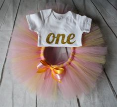 SALE...First 1st Birthday outfit gold glitter ONE by TulleVogue