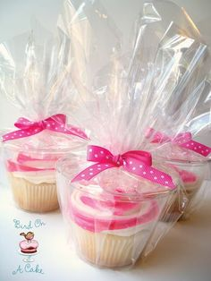 Simple way to package cupcakes for guests to take home. 9 oz plastic cups, cellophane, and a ribbon.  | followpics.co